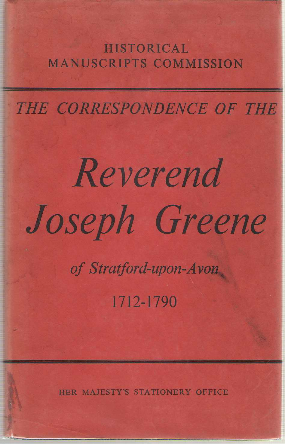 Image for The Correspondence Of The Reverend Joseph Greene Parson, Schoolmaster and Antiquary (1712-1790)