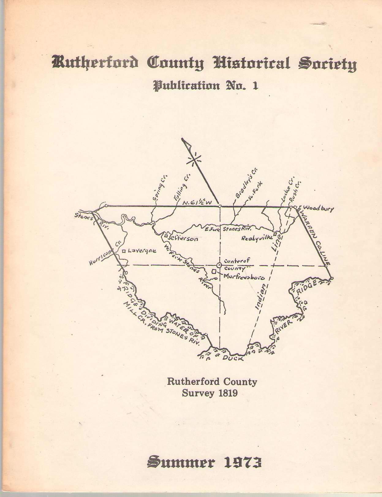 Image for Rutherford County Historical Society Publication No. 1 June 1973