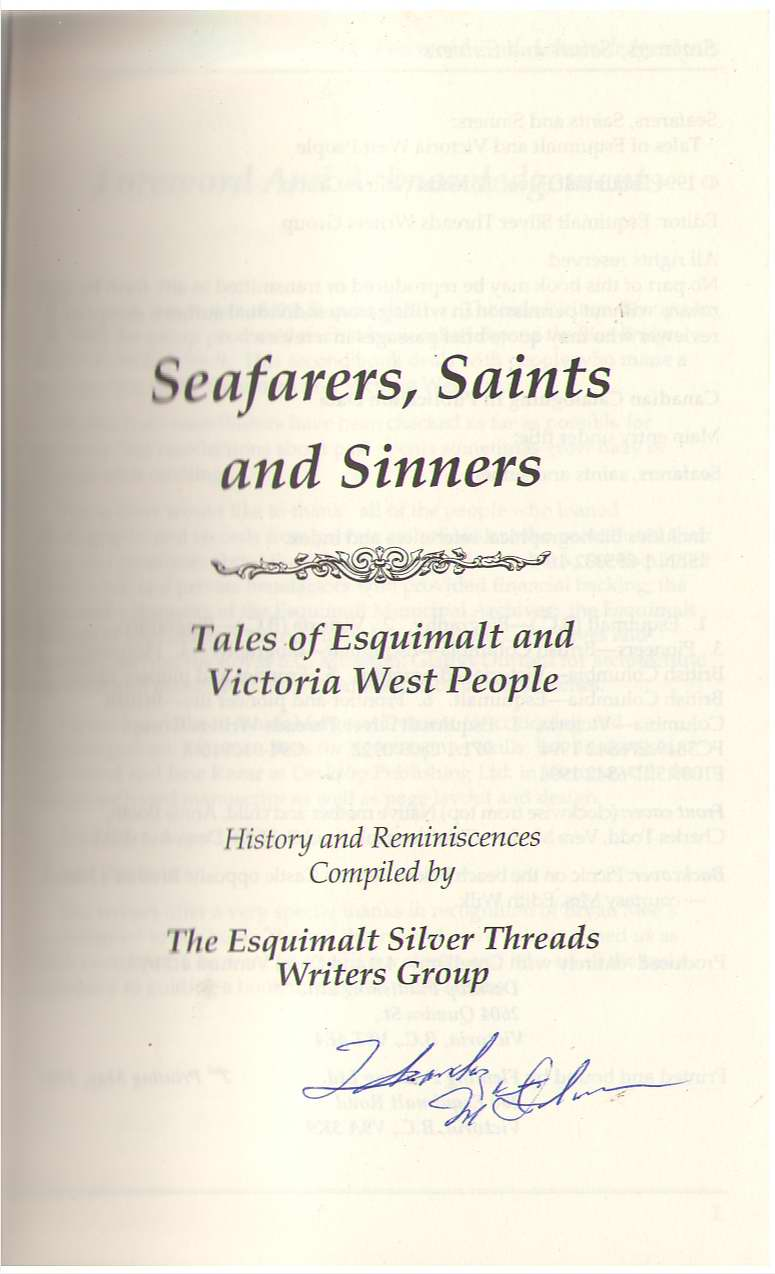 Image for Seafarers, Saints And Sinners Tales of Esquimalt and Victoria West People : History and Reminiscences