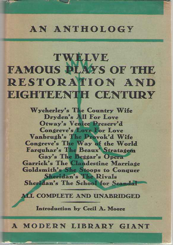 Image for Twelve Famous Plays Of The Restoration And Eighteenth Century An Anthology