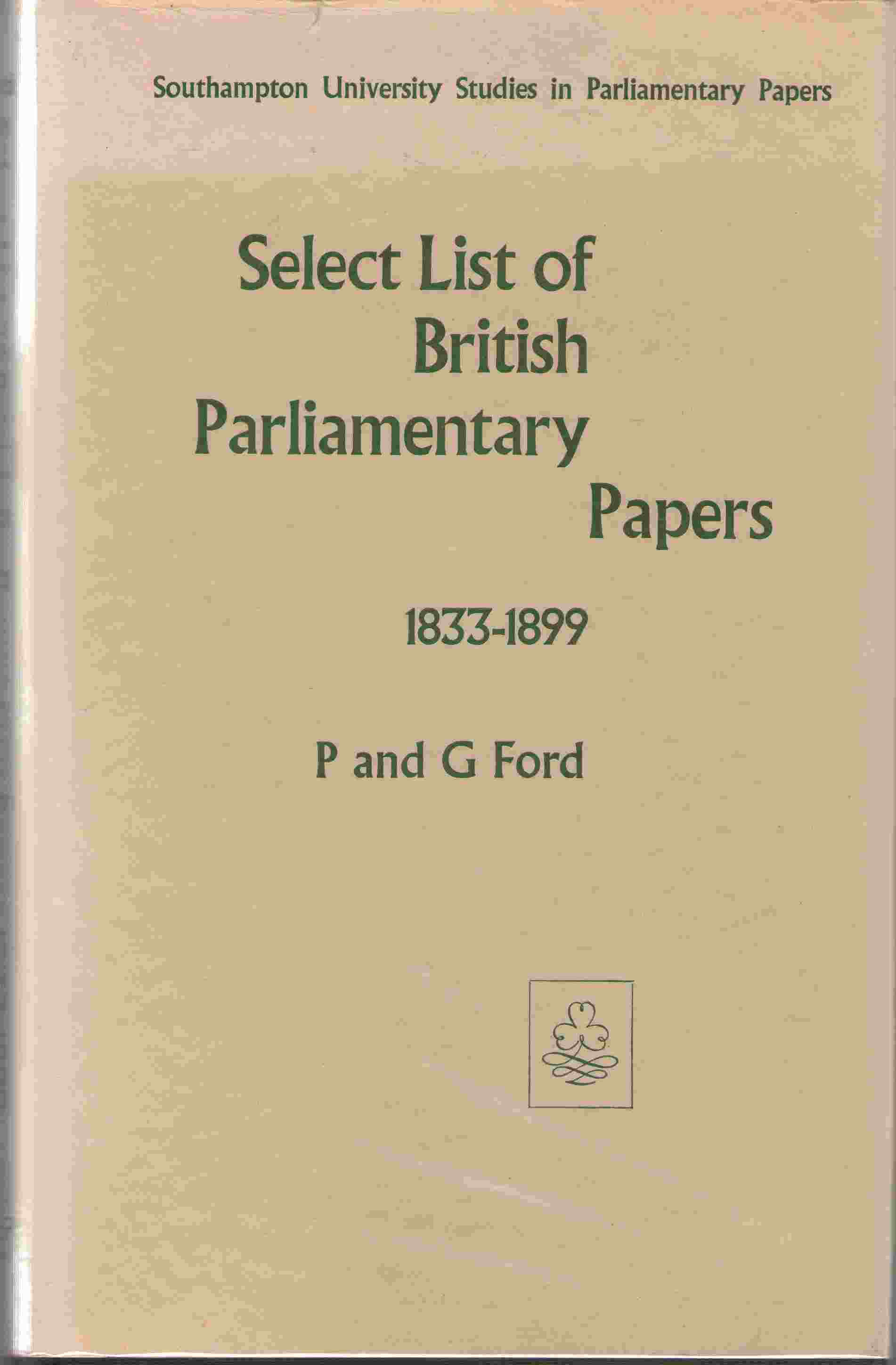 Image for Select List of British Parliamentary Papers, 1833-99