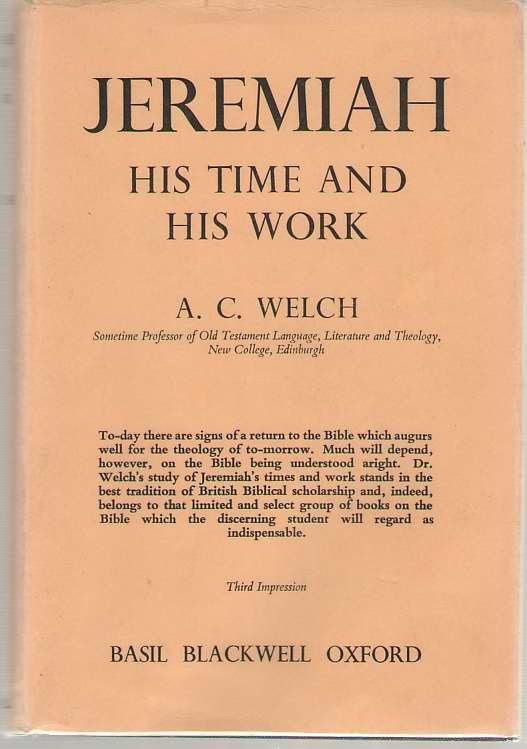 Image for Jeremiah His Time and His Work