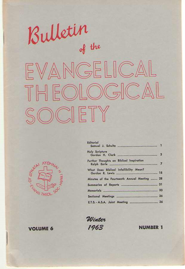 Image for Bulletin Of The Evangelical Theological Society Volume 6, Number 1, Winter 1963