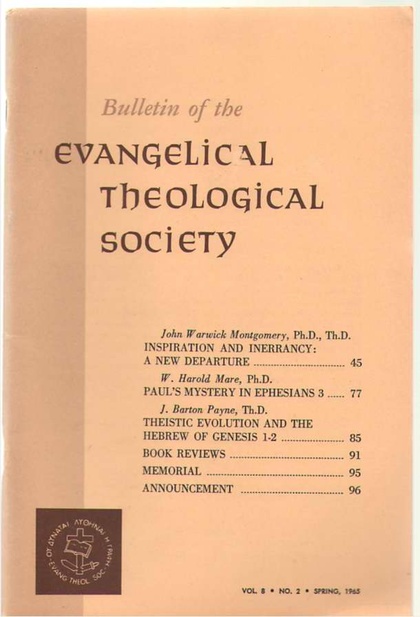 Image for Bulletin Of The Evangelical Theological Society Volume 8, Number 2, Spring 1965