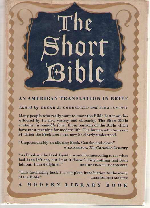 Image for The Short Bible An American Translation